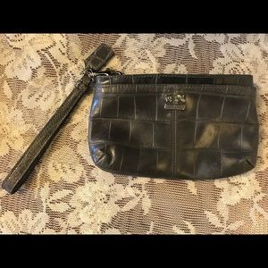 Coach Gray Leather Wristlet